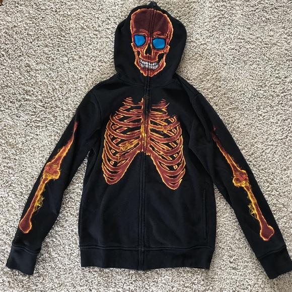 Tony Hawk Other - EUC Tony Hawk Fire Skeleton Full Face Hoodie